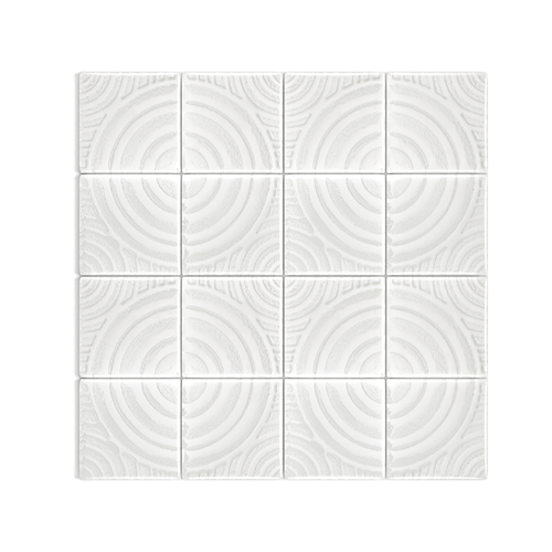 Clear White 73x73 Glass Mosaic Tile